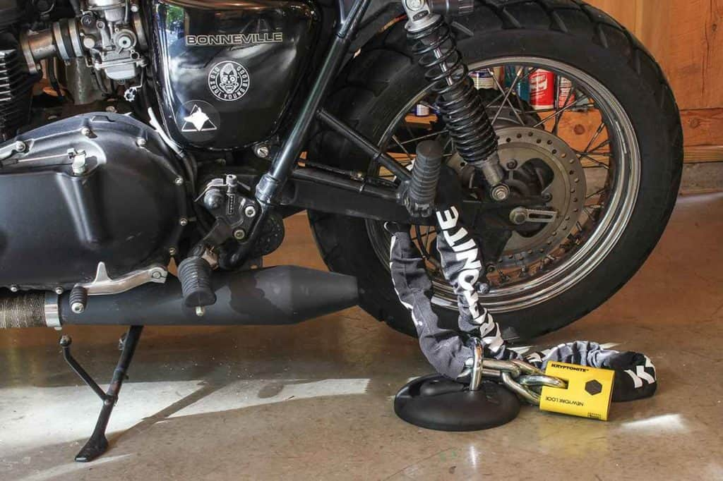 Motorcycle ground anchor and chain