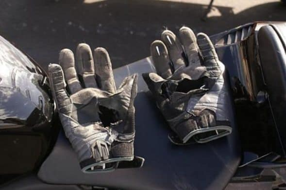 Ripped Motorcycle Gloves Crash