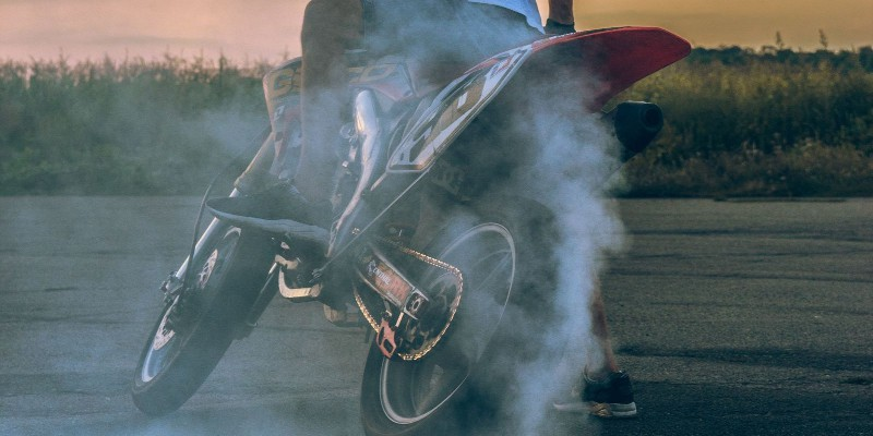 burning rubber of motorcycle tire