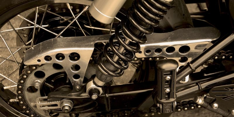 close up shot of motorcycle chain for cleaning