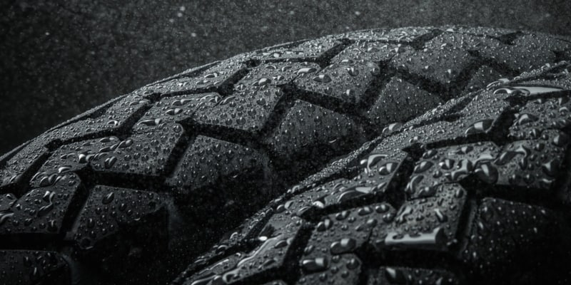 close-up shot of motorcycle tire patterning