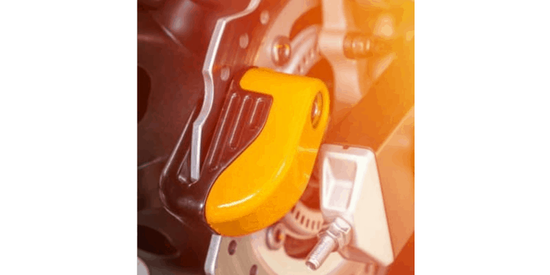 Yellow motorcycle disc lock alarm