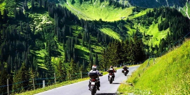 Group of motorcycle riders on the road