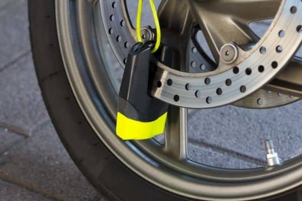 Black and yellow motorcycle lock