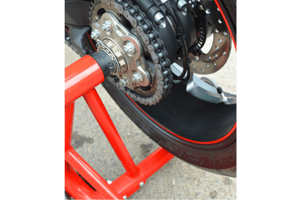 Red motorcycle stand