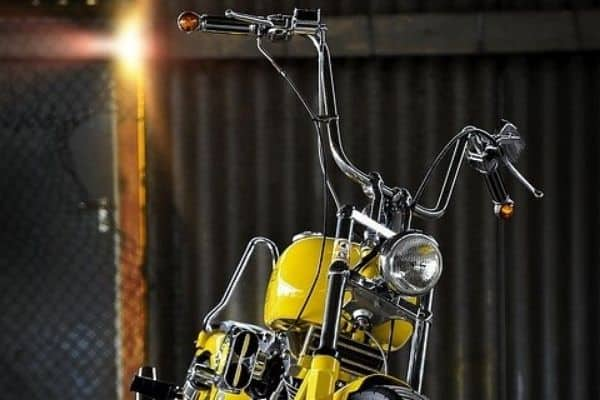 Yellow motorcycle with ape hangers