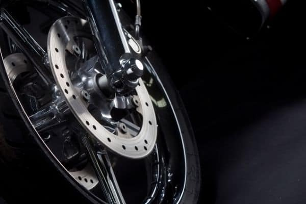 motorcycle tire with silver rim
