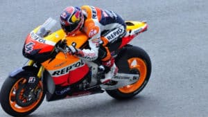 MotoGP rider on race motorcycle with fairings
