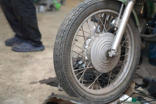 front wheel on a motorcycle dolly